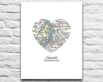 Seattle Washington Vintage Map Art DIGITAL DOWNLOAD PRINTABLE, Seattle printable, Seattle art,Seattle map, Washington,city,gift, poster,diy