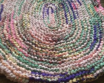 Pink, Green, and Purple Rag Rug