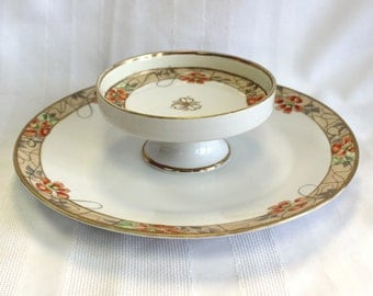 Nippon Handpainted Dip Cheeseball Two-Tiered Dish Plate Server - Lovely Orange & Tan Coloration