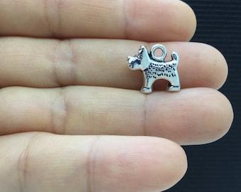 8pcs 3D Terrier Doggie Tibetan Silver Charm 15x12mm