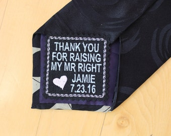Father of the groom Gift, Wedding tie patch, square, heart, tie label, wedding favor, iron-on option, thank you for raising. F2