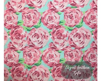 Lilly Pulitzer Inspired Cotton Fabric By The Yard - Lobstah Roll - First Impression Rose - Crown Jewels