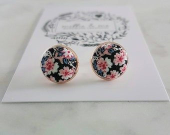 Rose gold and black floral fabric stud earrings