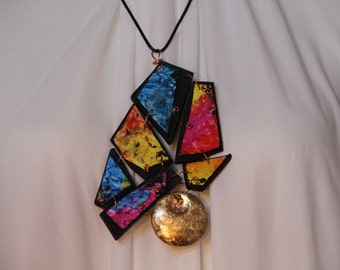 Hand-painted polymer clay and metal necklace