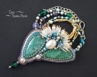 """Pendant - brooch """"Flower from the banks of the Nile"""" Bead embroidery pendant Pendant with Swarovski crystals Beadwork pendant Beaded brooch"""