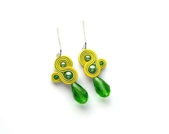 Lime green earrings, lime green jewelry, lime green boho, boho jewelry, green earrings, soutache earrings, drop crystal earrings, dangle