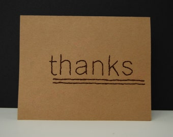 Hand Stitched Thank You Card