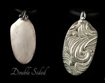 Fine Silver Pendant, Flower Pendant Necklace, Unique Silver Jewelry, Hand Made Silver Jewelry, Pure Silver Necklace, Handstamped Necklace