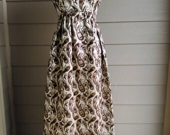 60s Elegant Dress in Paisley and Gold Lame