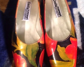 MADE in Spain COSTABLANCA Multi Color Leather Career Casual Shoes sz 5 N EUC