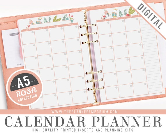 a5 calendar planner inserts rosa collection fits kikki k large