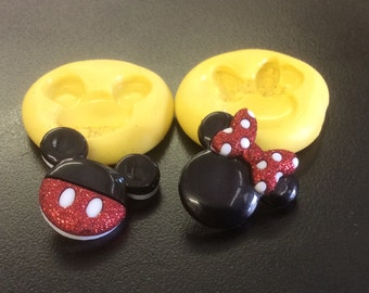 MICKEYMOUSE & MINNIE mouse push mold  flexible silicone soaps scrap book cakes sugar jewelry clay food miniatures  Mickey accessories
