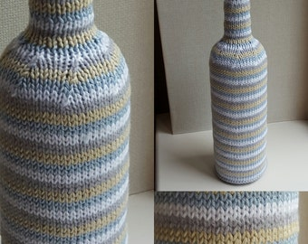Blue Stripe hand knitted Wine BOTTLE COVER in 100% cotton