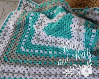 Crochet baby blanket - turquoise blanket - turquoise gray and white baby afghan - nursery decor - baby shower gift