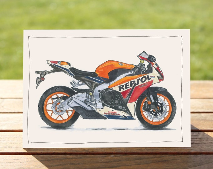 "Motorcycle Gift Card | Honda CBR 1000 Fireblade | A6 - 6"" x 4"" / 103mm x 147mm + Envelope 