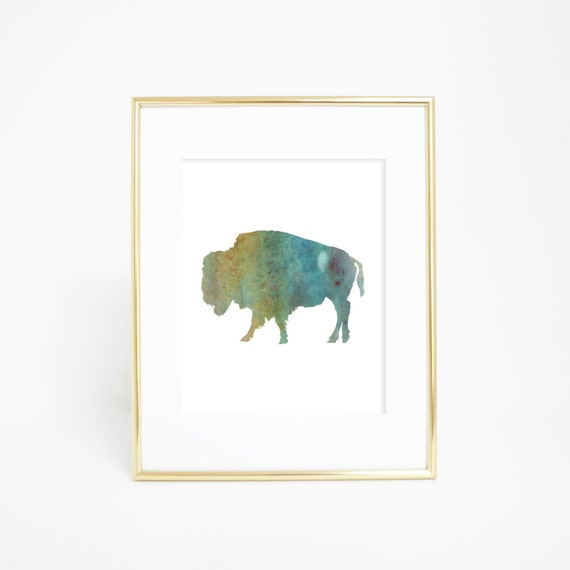 Printable Wall Art, Watercolor Art Print, Digital Download Art, Green Art Print, Buffalo Print, Buffalo Art, Printable Art, Digital Print