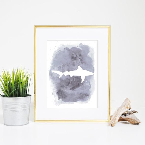 Shark Print, Gray Print, Watercolor Print, Watercolor Shark, Shark Wall Art, Printable Wall Art, Beach Print, Beach Wall Art, Nursery Art