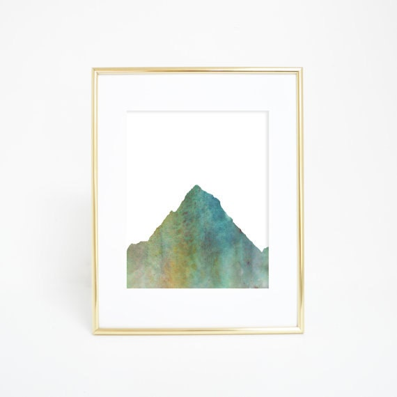 Mountain Art, Mountain Wall Print, Mountain Decor, Green Mountain, Watercolor Mountain, Mountain Nursery, Woodland Decor, Office Prints