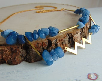 Geometric Necklace/ Blue Quartz & Gold Necklace