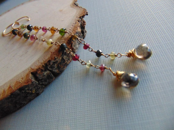 Gorgeous long earrings, nature inspired earrings, Smoky Quartz ,Rusty, leaf jewelry, gift for Her