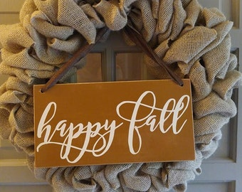 Reversable Hanging Happy Fall And Give Thanks Sign