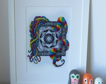 Abstract rainbow zentangle mandala, hand drawn original zendoodle artwork.