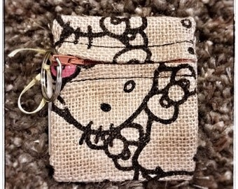 Coin Purse Zippered - Moustache, Hello Kitty, Burlap Electronics Pouch