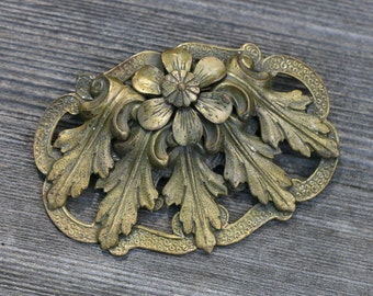 Antique / Vintage Old Large Brass Colored Floral Brooch