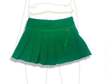 Green Jersey pleated tennis mini skirt!