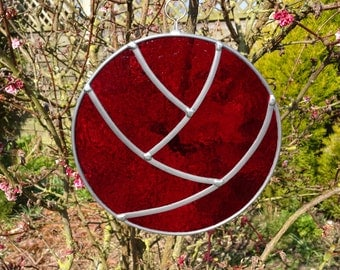 Stained Glass Red Round Stylised Flower - all year garden tree ornament - or indoors decoration / sun catcher