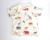 4-5T Childrens handmade long or short sleeve shirt - African animal print - girl or boy -  organic cotton - elephants giraffes birds gazelle