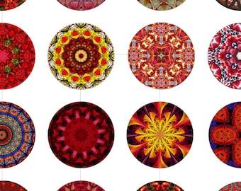 Digital Collage Sheet, Kaleidoscope, Geometric, Printable Downloads, Craft Supplies, 20mm 18mm 16mm 14mm 12mm Circles, dcc049s