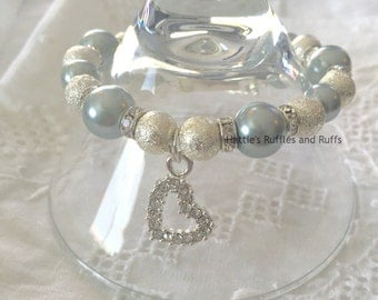 Girly Pearly Bracelet -- Beaded Bracelet with Sparkly Heart Charm -- FREE SHIPPING in U.S.