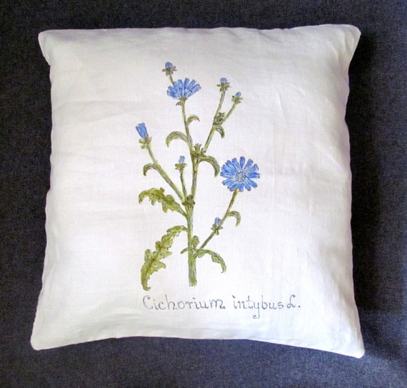 PILLOW. Hand-painted pillow. Colours; white, blue, green, unique pillow. decorative pillow. ready to ship.
