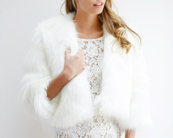 Bella Faux Fur Jacket - Ivory