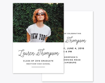 Simple Grad Photo Graduation Announcement + Invitation Printable