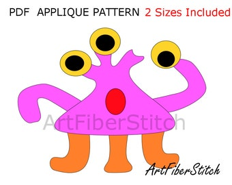 3 Eyed Monster PDF Applique Template Pattern - available for instant download from ArtFiberStitch