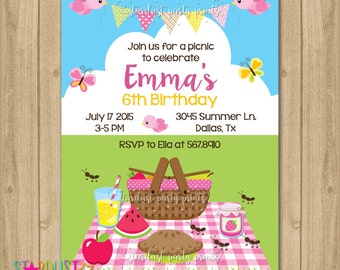 Picnic Birthday Invitation, Picninc Birthday, Picnic Invitation, Digital Invitation