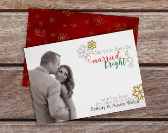 Married & Bright Christmas Card