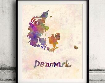 Denmark - Map in watercolor - Fine Art Print Glicee Poster Decor Home Gift Illustration Wall Art Countries Colorful - SKU 1689