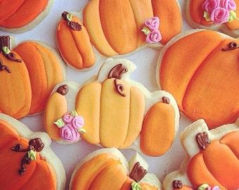 Pumpkin Patch Flower Custom Cookies