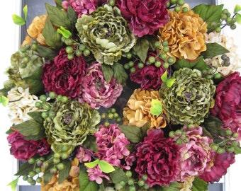 XXL Handmade Hydrangea & Peony Everyday Wreath Spring Wreath Summer Wreath Front Door Wreath