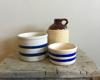 Vintage Set of Crocks - Blue Striped Crocks - Brown Jug - Robinson Ransbottom Roseville - USA Jug - Roseville Crock