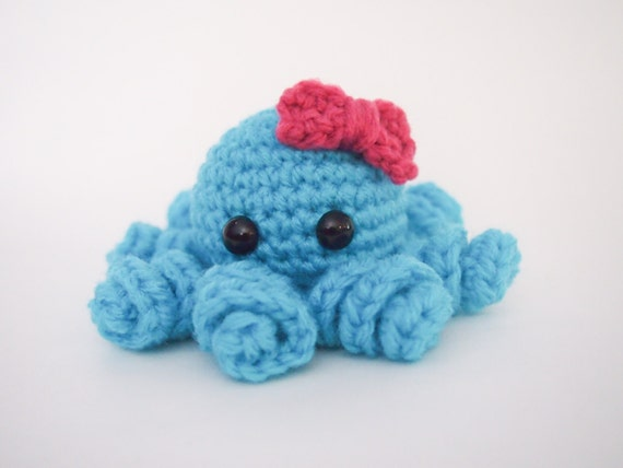 Octopus Amigurumi Plush : Crochet Octopus Amigurumi Handmade Plush Toy Blue Pink Bow