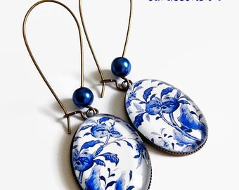 motif earrings * China * flowers vintage white blue China, cut glass