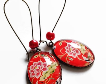 motif earrings * Chinese embroidery * flowers Golden Red China, cut glass