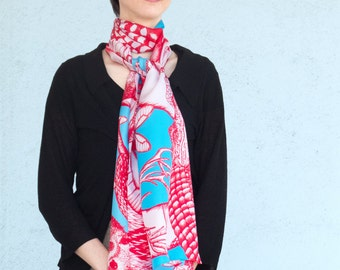 Twill of silk's scarf, mixed drawn animals (deer, rabbit, marmot, mouflon, butterflies), red turquoise blue