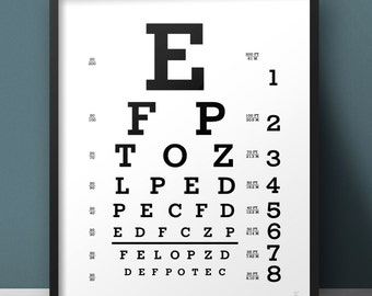 Snellen eye chart print Lettering Typography Custom eye chart Black and white Eye test chart