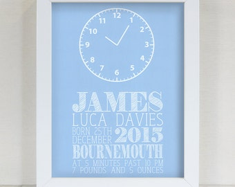Personalised Blue Baby's Clock Framed Print