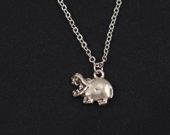 hippo necklace, silver hippopotamus charm, hippo pendant, animal necklace, kid jewelry, zoo necklace, hippopotamus jewelry, gift for her